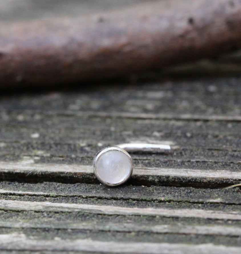 Rainbow moonstone nose stud / moonstone nose ring / sterling silver nose stud / gift for her / jewelry sale /  moonstone jewelry