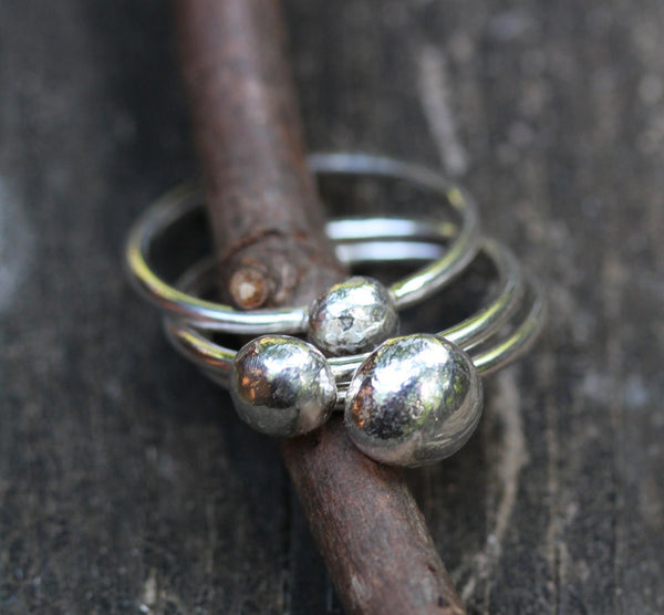 Sterling silver pebble stacking rings / silver nugget ring / gift for her / jewelry sale / rustic stacking rings / organic ring / boho ring