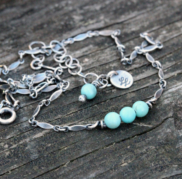Mexican turquoise necklace / sterling silver necklace / soft blue beaded necklace / gift for her / jewelry sale / layer necklace / boho