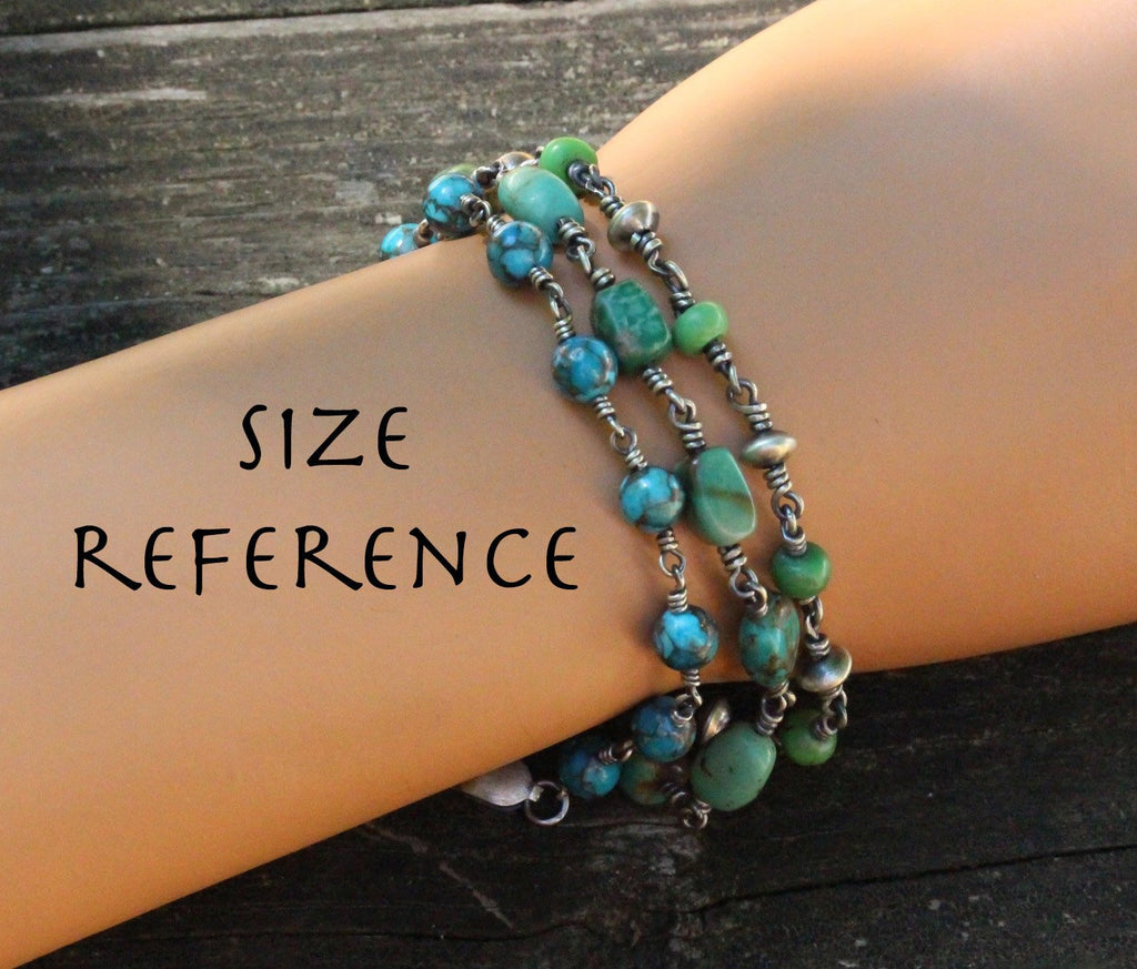 Turquoise sterling silver bracelet / natural turquoise beaded bracelet / gift for her /  layer bracelet / bohemian jewelry / jewelry sale