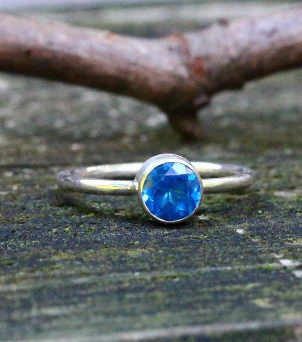 Ice blue topaz sterling silver ring / gift for her / topaz ring / gemstone ring / blue topaz / jewelry sale / stacking ring / simple ring
