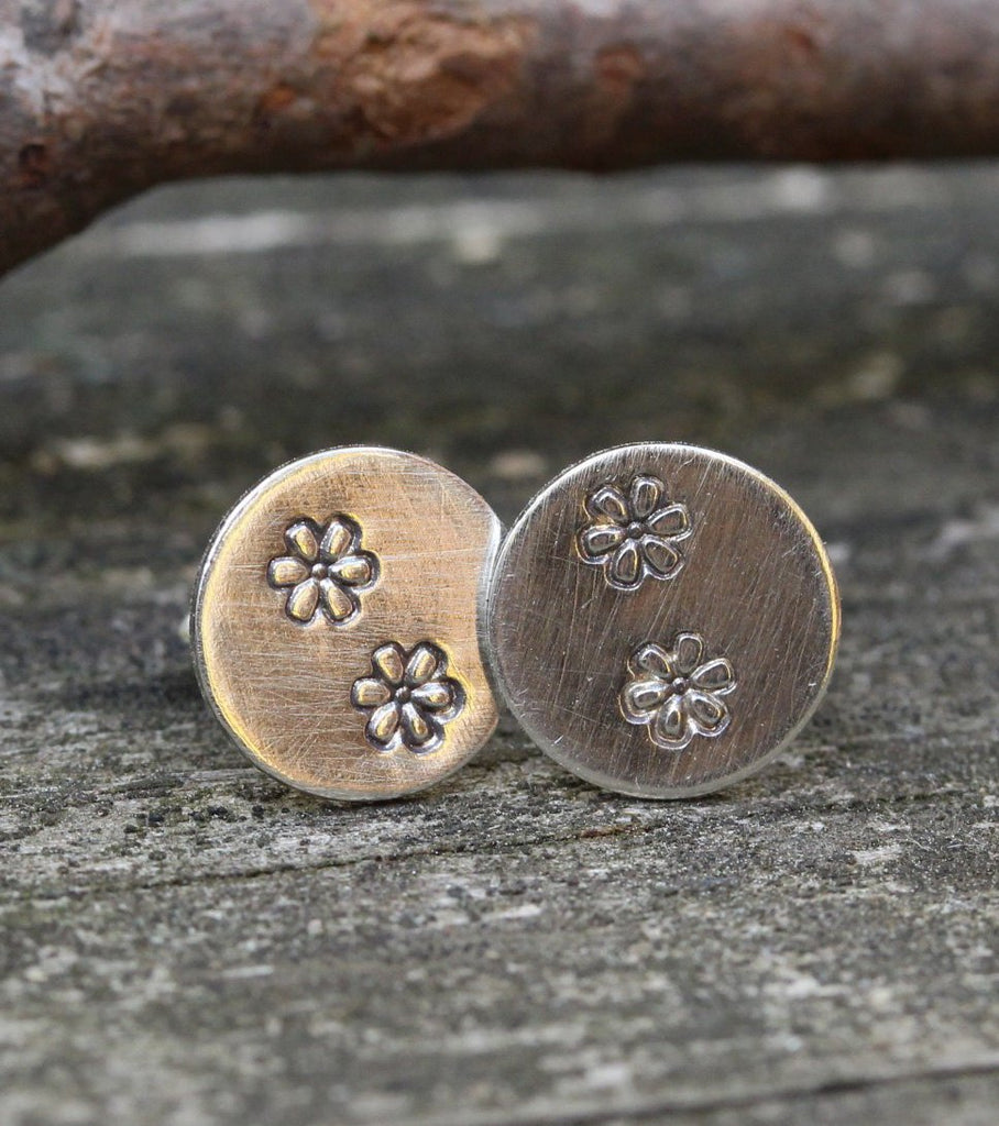 Sterling silver flower stamped stud earrings / gift for her / jewelry sale / stamped jewelry / daisy / large stud earrings / circle earrings