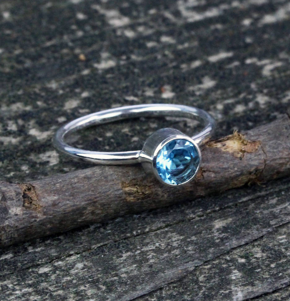 Swiss blue topaz ring / sterling silver ring / gift for her / jewelry sale / blue gemstone ring / stackable ring / simple ring
