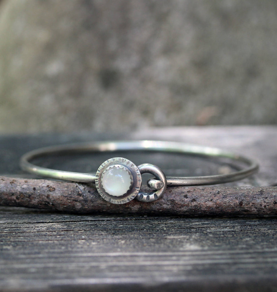 Rustic moonstone bracelet / white moonstone bracelet / silver bangle bracelet / gift for her / jewelry sale / sterling bangle bracelet