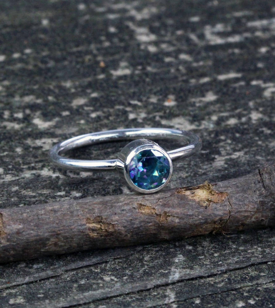 Rainbow topaz ring / sterling silver topaz ring / gift for her / jewelry sale / blue purple stone ring / color change ring / stackable ring