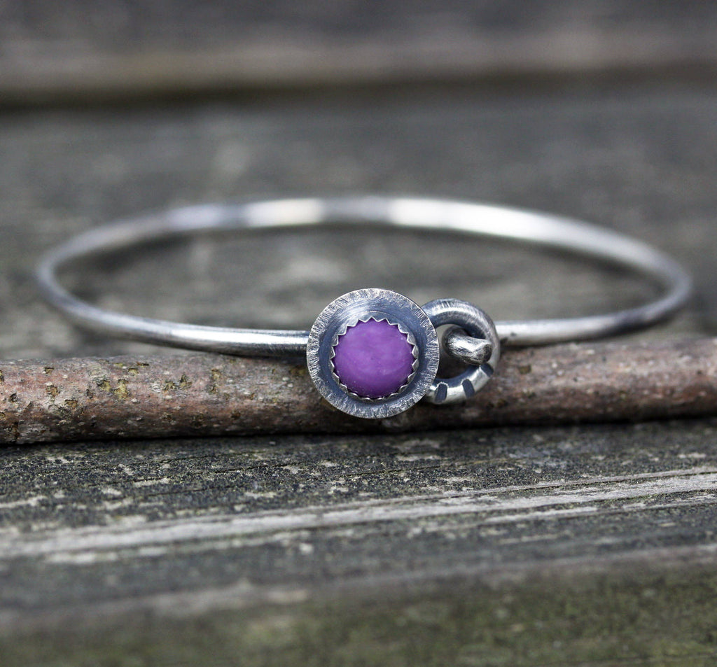 Rustic phosphosiderite bracelet / sterling silver bracelet / boho bangle bracelet / gift for her / jewelry sale / purple stone bracelet