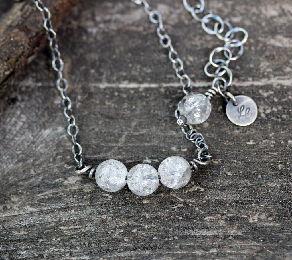 Cracked crystal necklace / sterling silver necklace / silver beaded necklace / gift for her / jewelry sale / layer necklace / boho necklace