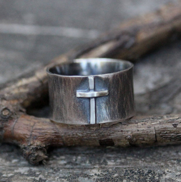 Cross ring / wide band / sterling silver ring / Christian ring / baptism gift / confirmation gift / gift for him / gift for her / sale