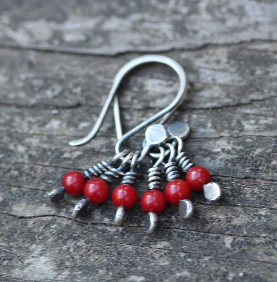 Red coral dangle earrings / sterling silver dangle earrings / gift for her / coral earrings / dainty earrings / jewelry sale / tiny dangles