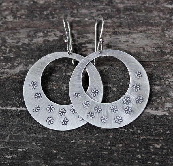 Sterling silver daisy stamped disk hoop dangle earrings LARGE