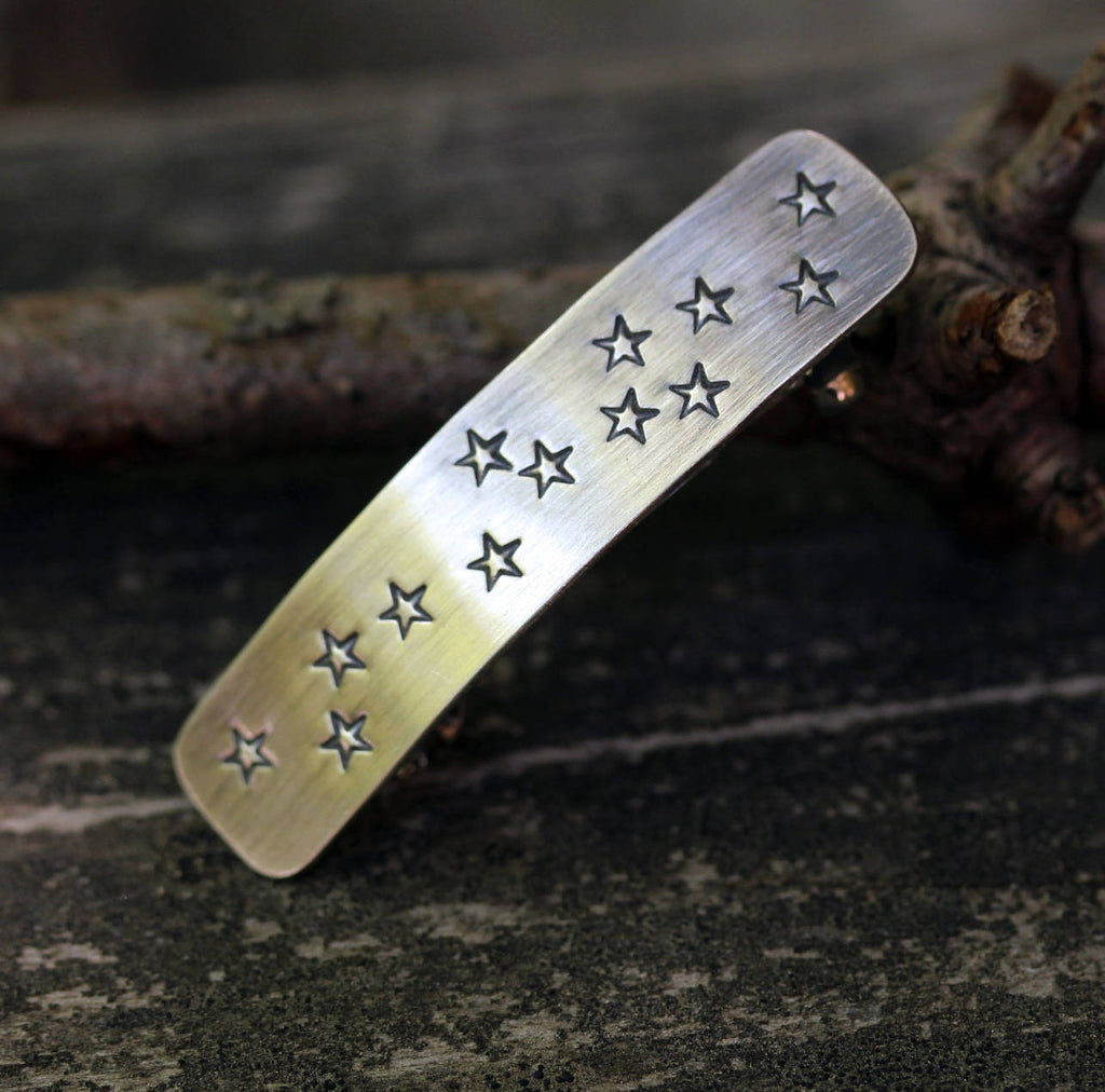 Sterling silver star barrette / SMALL star barrette / silver barrette / French barrette / gift for her / stamped jewelry / hair jewelry