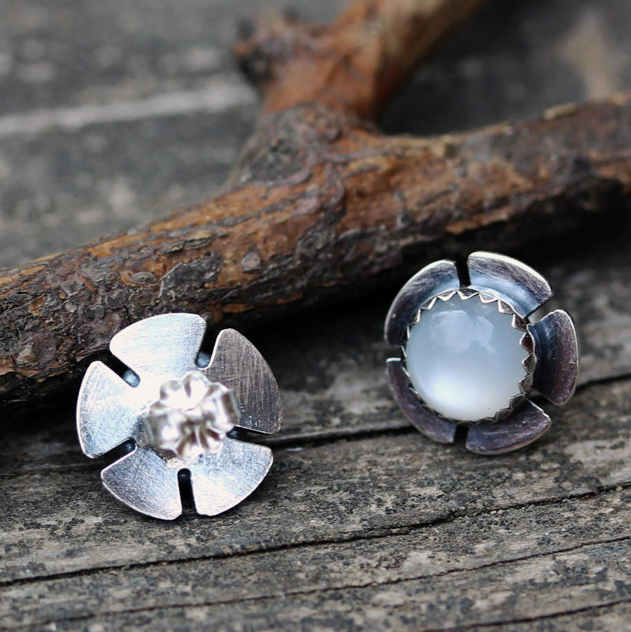 Natural moonstone earrings / sterling silver flower earrings / moonstone studs / gift for her / jewelry sale / floral earrings