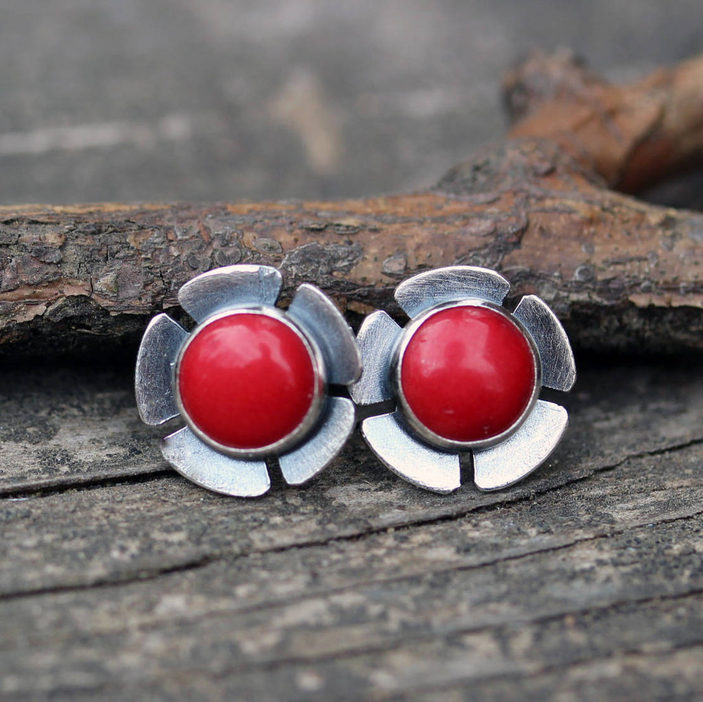 Red coral stud earrings / sterling silver studs /  flower stud earrings / gift for her / jewelry sale / red earrings / large stud earrings
