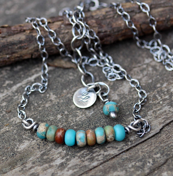 Turquoise jasper necklace / sterling silver necklace / gift for her / layering necklace / minimalist necklace / boho necklace / jewelry sale