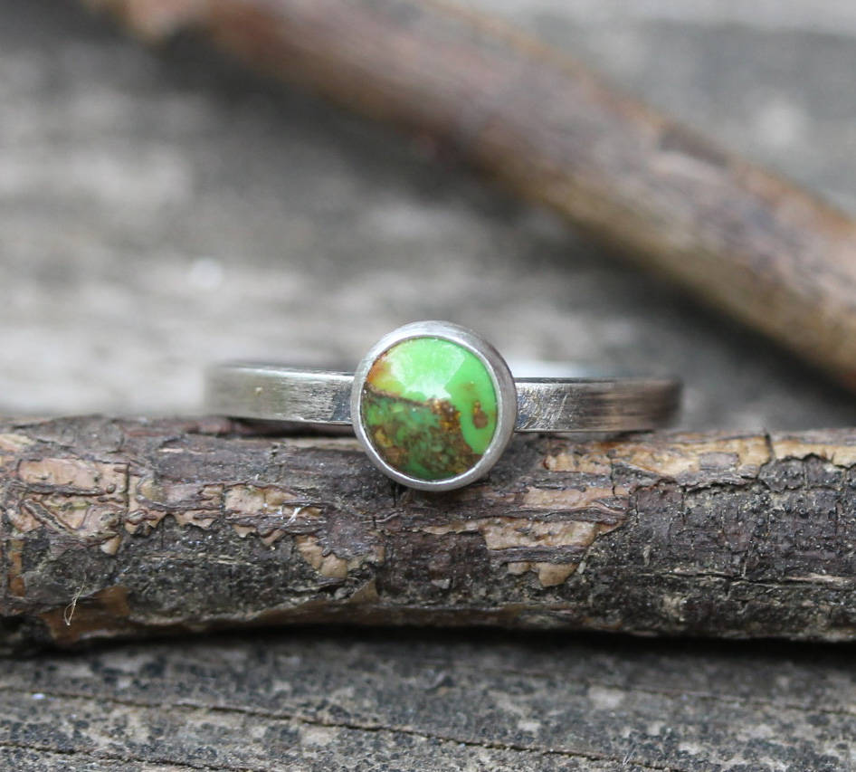 Green and copper turquoise ring / sterling silver ring / gift for her / stacking ring / boho ring / green turquoise / jewelry sale / rustic