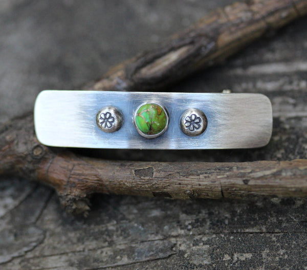 Turquoise barrette / SMALL sterling silver barrette / green turquoise / gift for her / jewelry sale / girls barrette / French barrette