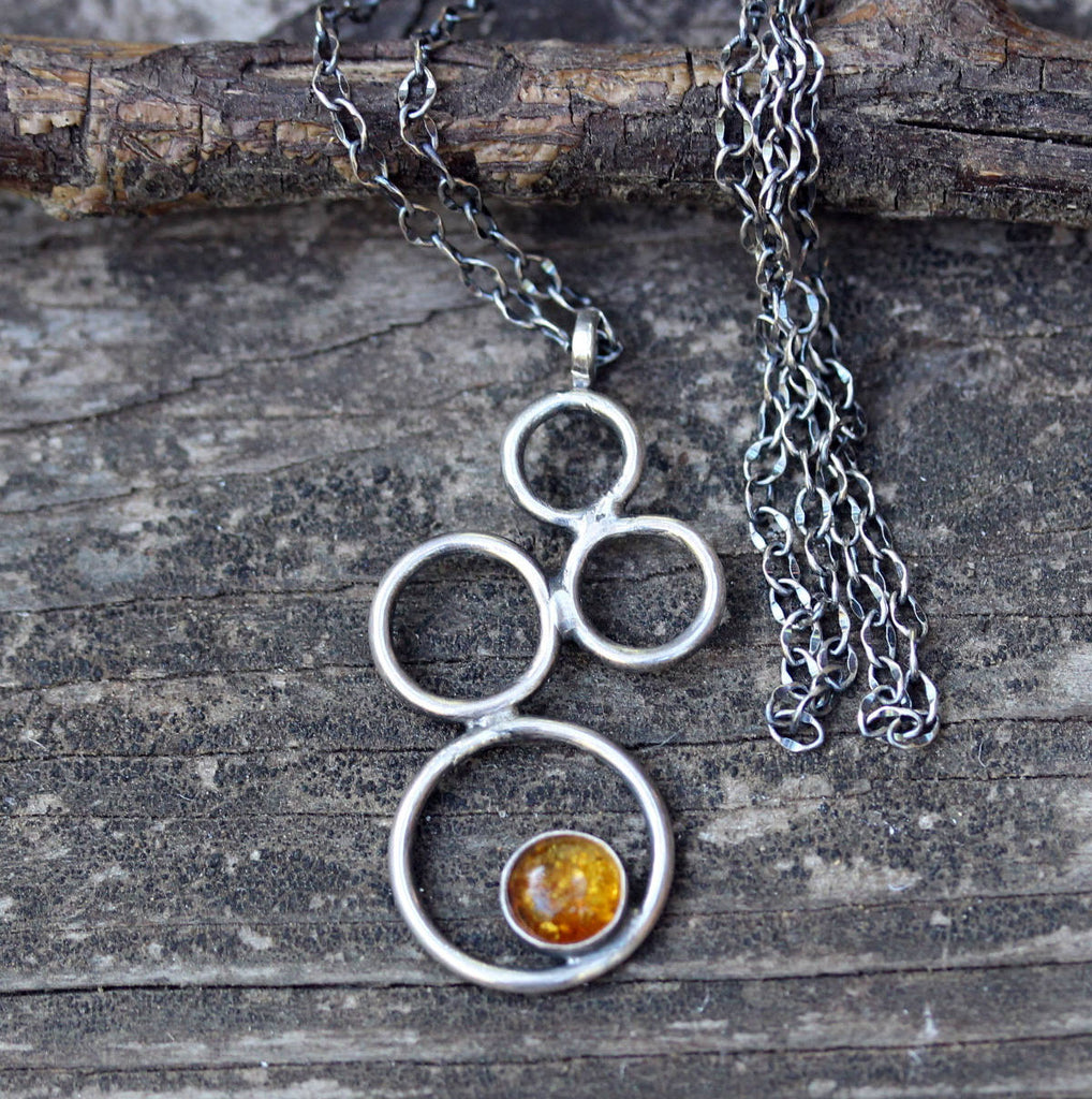 Golden amber necklace / sterling silver circle necklace / gift for her / jewelry sale / rustic necklace / boho necklace / amber pendant