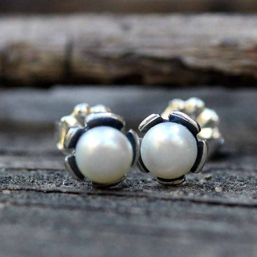 Pearl earrings / SMALL pearl studs / sterling silver earrings / bridesmaid gift / gift for her / rustic wedding / tiny pearl studs / sale