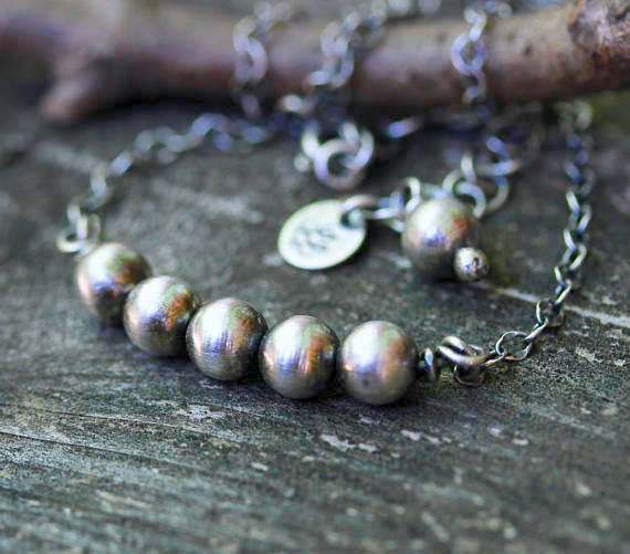 Navajo pearl necklace / sterling silver beaded necklace / silver cable chain / gift for her / layer necklace / sterling beads / jewelry sale