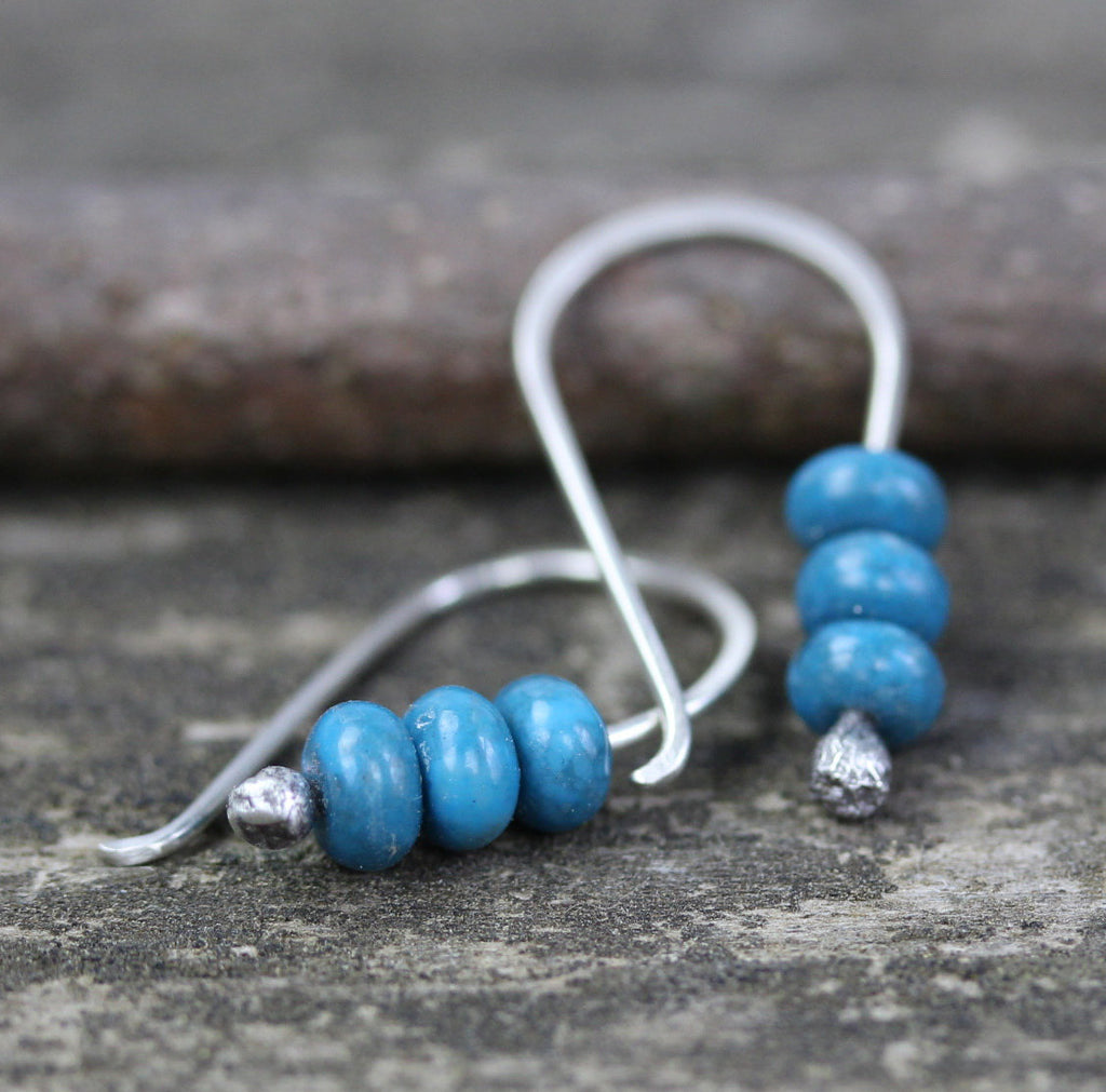 Blue jasper earrings / sterling silver earrings / gift for her / silver dangle earrings / tiny earrings / jewelry sale / bohemian