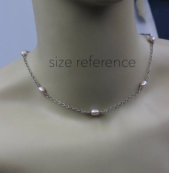 White pearl necklace / beaded pearl necklace / sterling silver necklace / bridesmaid gift / gift for her / pearl layer necklace /  sale