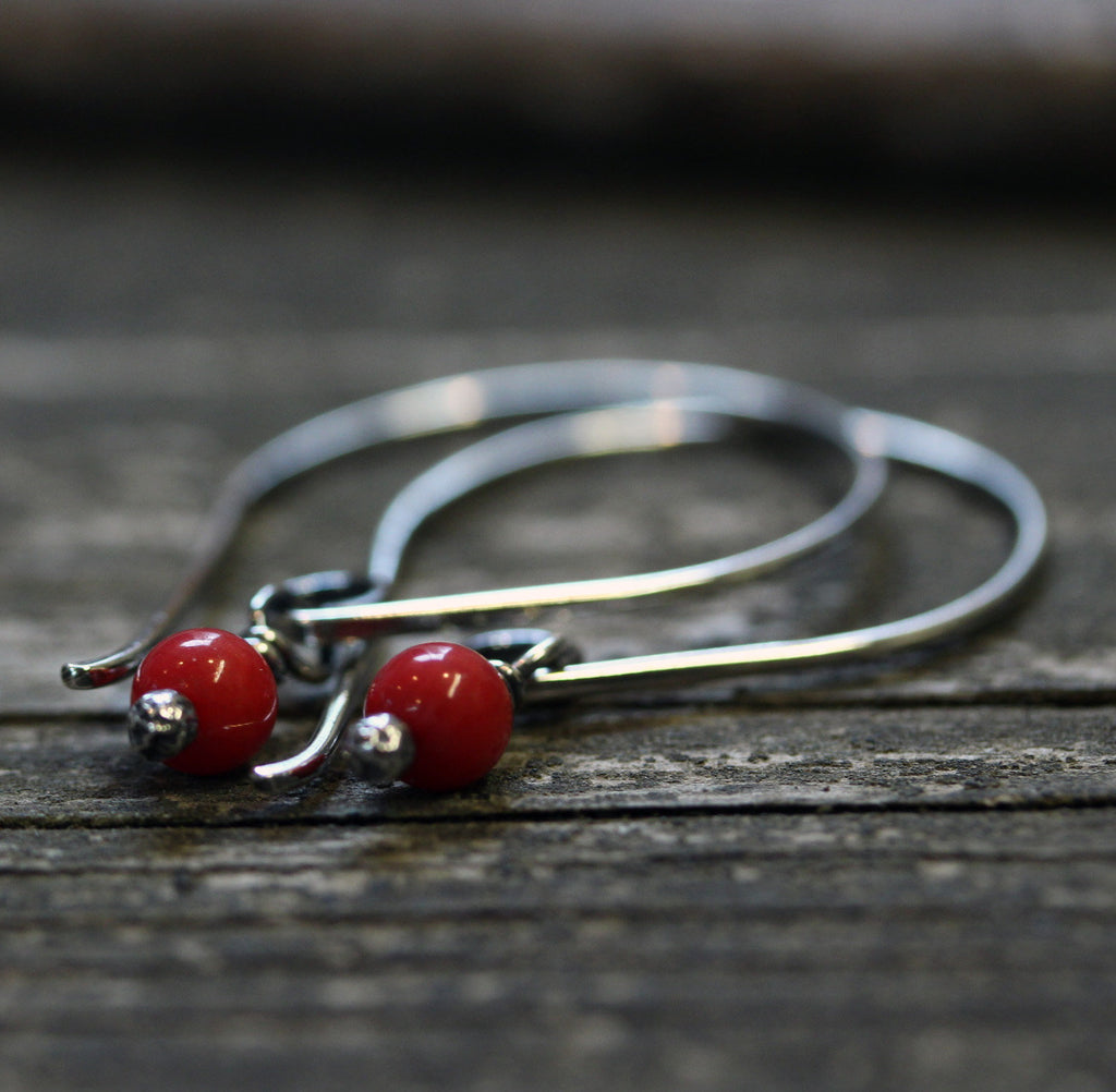 Red coral sterling silver dangle earrings / sterling silver hook earrings / gift for her / jewelry sale / red stone earrings / boho earrings