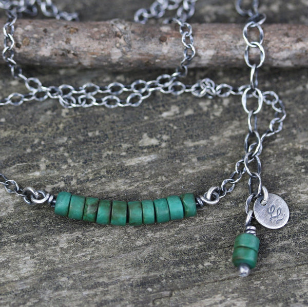 Green turquoise necklace / turquoise beaded necklace / gift for her / boho necklace / layering necklace / jewelry sale / sterling necklace