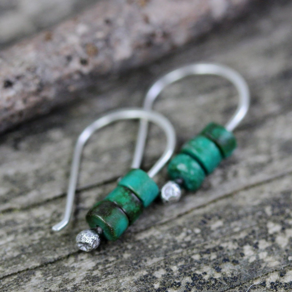 Green turquoise earrings / turquoise sterling silver earrings / gift for her / silver dangle earrings / tiny earrings / jewelry sale