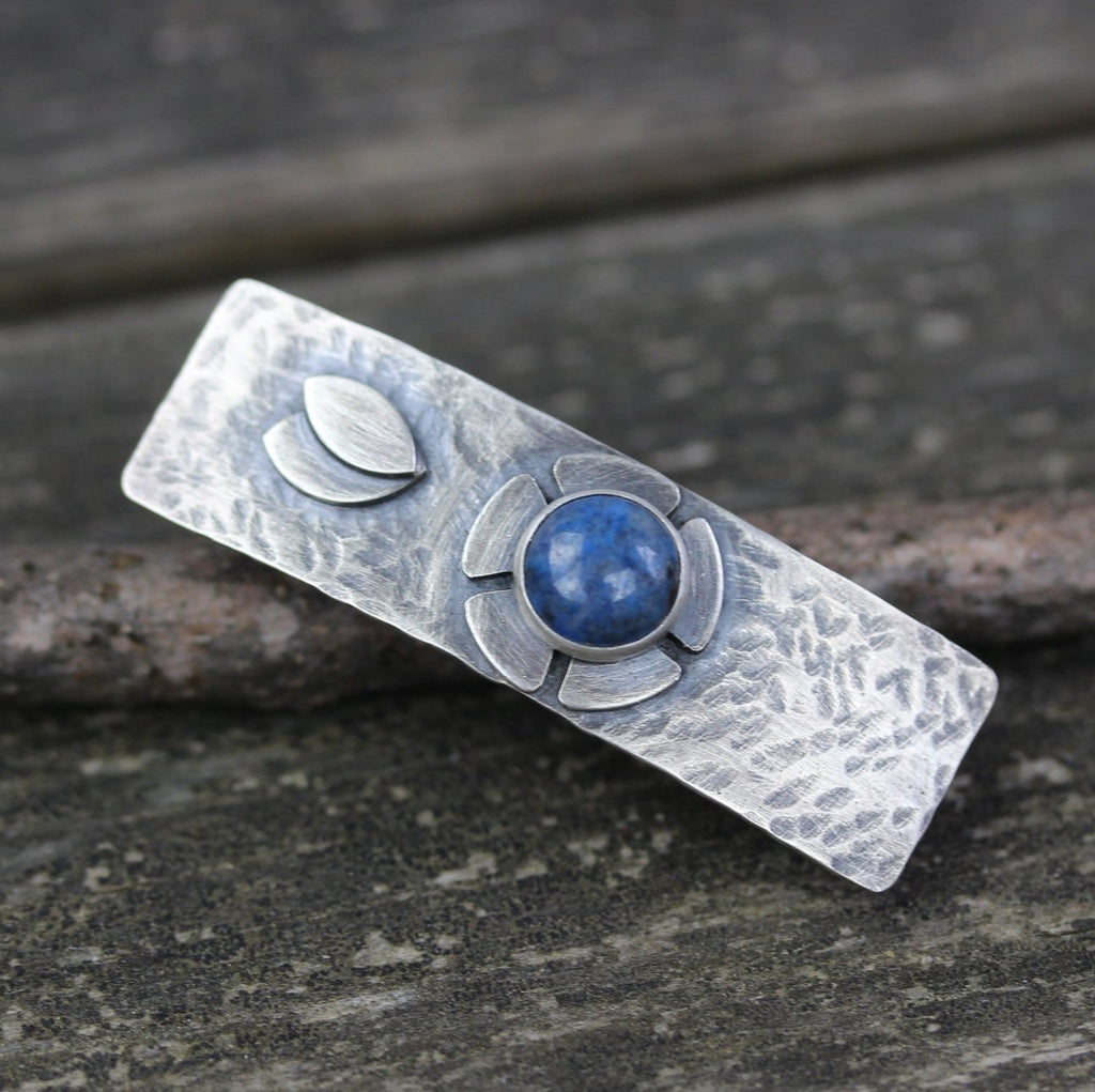 Lapis hammered barrette / SMALL silver barrette / flower barrette / gift for her / French barrette / sterling barrette / jewelry sale
