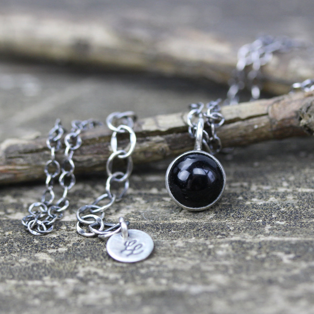 Black onyx necklace / sterling silver necklace / gift for her / layering necklace / minimalist necklace / boho necklace / pendant necklace
