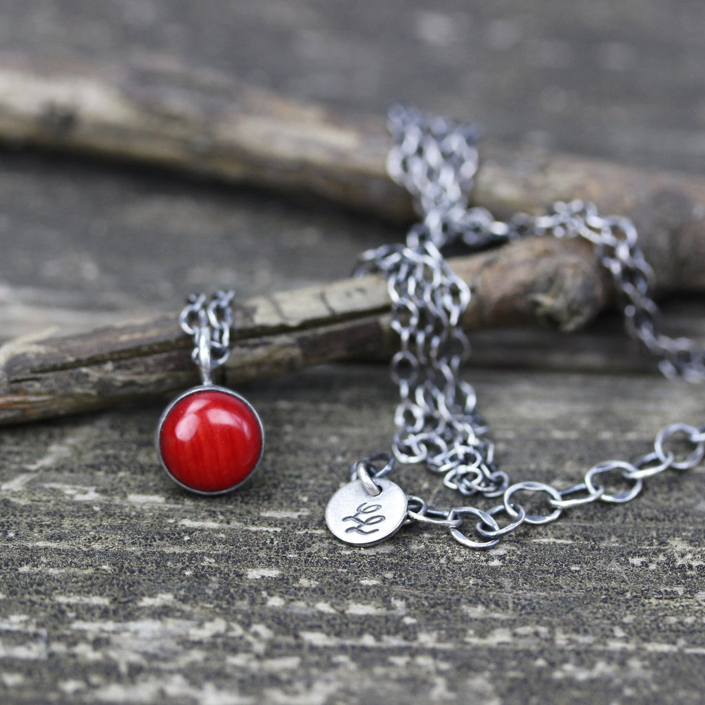 Red coral necklace / sterling silver necklace / red coral pendant / minimalist necklace / sterling cable chain / gift for her / jewelry sale