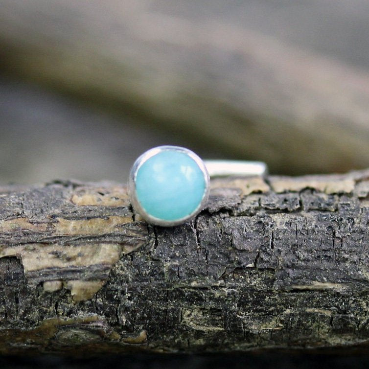 Baby blue amazonite nose stud / silver nose stud / gift for her / sterling nose stud /  nose ring / boho nose ring / jewelry sale/ nose bone
