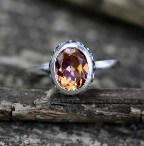 Anastasia topaz sterling silver ring / oval gemstone ring / topaz ring / gift for her / jewelry sale / 8x6mm stone ring / fine jewelry