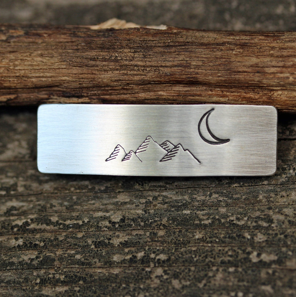 Mountain range sterling silver barrette / SMALL silver barrette  / gift for her / French barrette / bangs barrette / boho barrette / nature