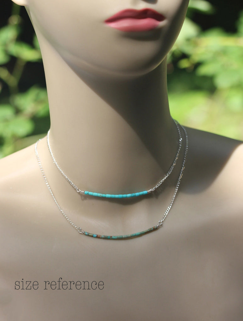 Kingman turquoise necklace / dainty sterling silver necklace / gift for her / jewelry sale / turquoise bar necklace / boho layer necklace