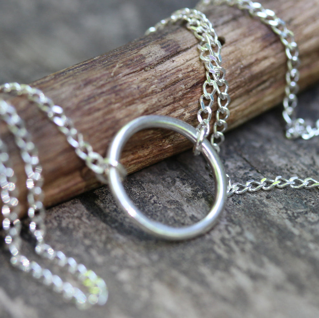 Sterling silver circle necklace / dainty silver necklace / gift for her / jewelry sale / circle layer necklace / simple necklace