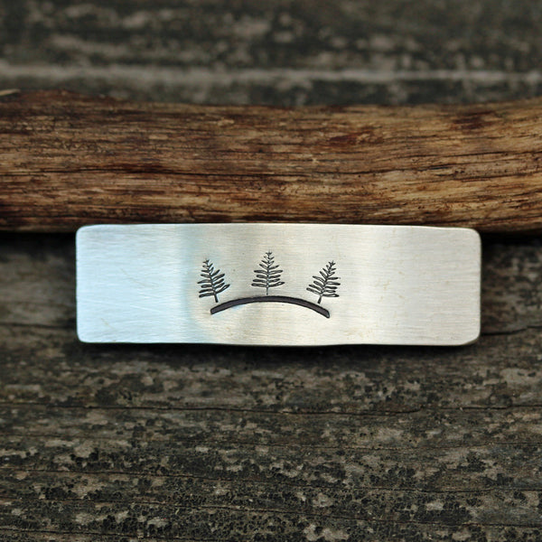 Tree hugger sterling silver barrette / SMALL silver barrette  / gift for her / French barrette / bangs barrette / boho barrette / nature