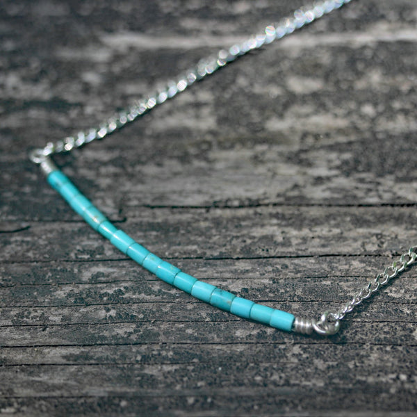 Blue Kingman turquoise necklace / dainty sterling silver necklace / gift for her / jewelry sale / turquoise bar necklace / boho necklace