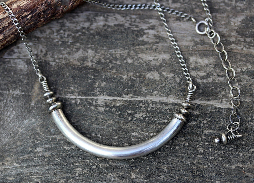 Sterling silver yoke necklace / silver tube necklace / boho necklace / gift for her / layer necklace / bold necklace / rustic necklace