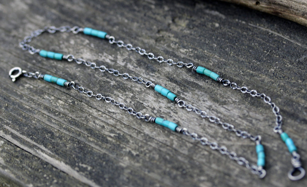 Blue Kingman turquoise necklace / sterling silver necklace / gift for her / layering necklace / tiny necklace / boho necklace / jewelry sale