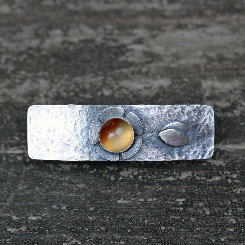 Carnelian barrette / SMALL sterling silver barrette / flower barrette / gift for her / jewelry sale / orange stone barrette / short hair