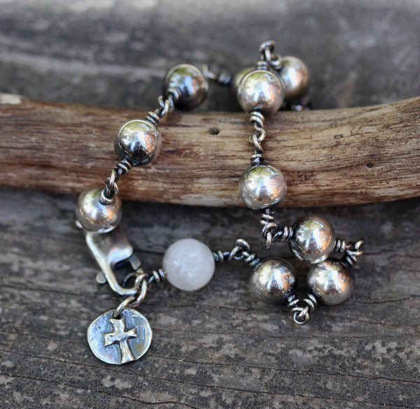 Rosary bracelet / sterling silver rosary bracelet / Christian jewelry / confirmation  gift / baptism gift / Sterling silver beaded bracelet