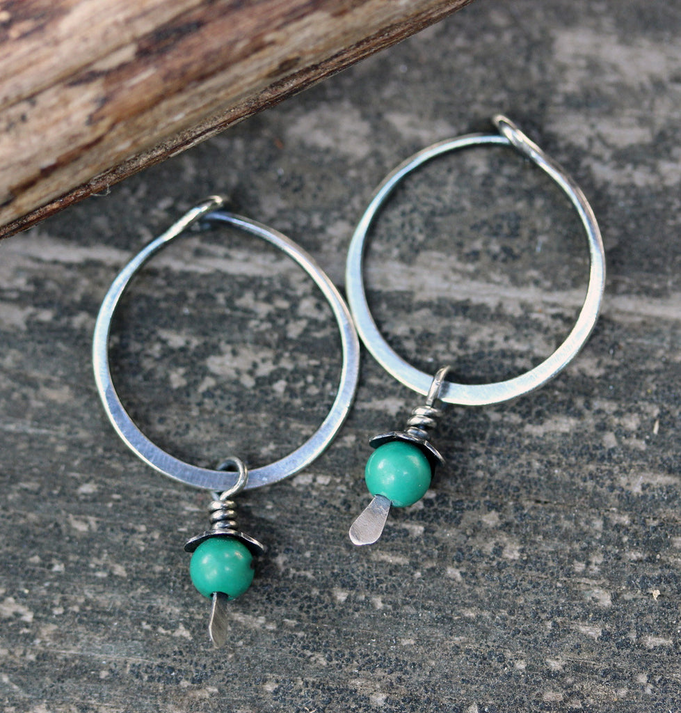 Tiny green turquoise hoops / silver hoops / turquoise earrings / gift for her / dainty earrings / small hoops / sterling silver earrings