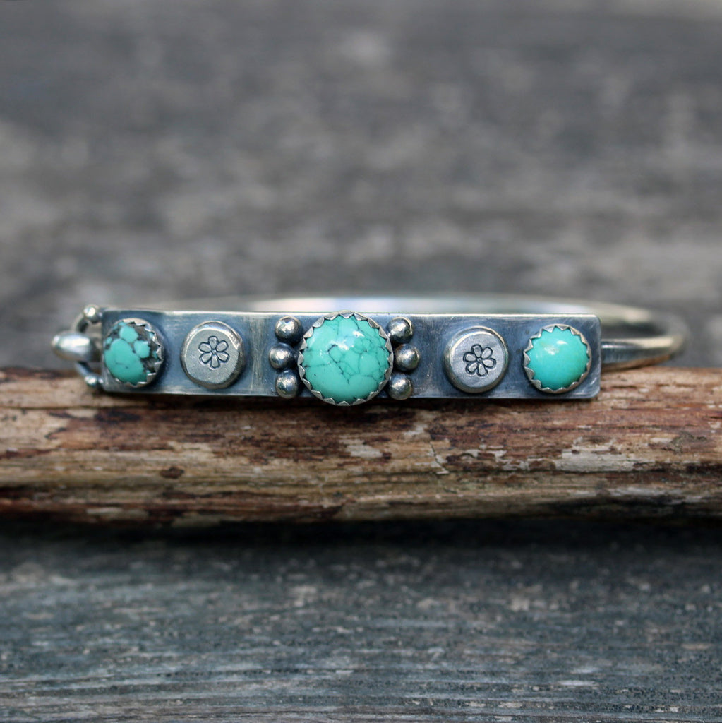 Turquoise bracelet / turquoise sterling silver bangle bracelet / gift for her / boho bracelet / jewelry sale / rustic bangle bracelet