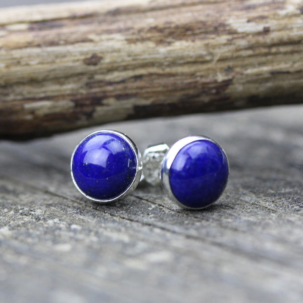 Lapis Lazuli earrings / sterling silver stud earrings / large stud earrings / dark blue stone earrings / gemstone earrings / minimalist