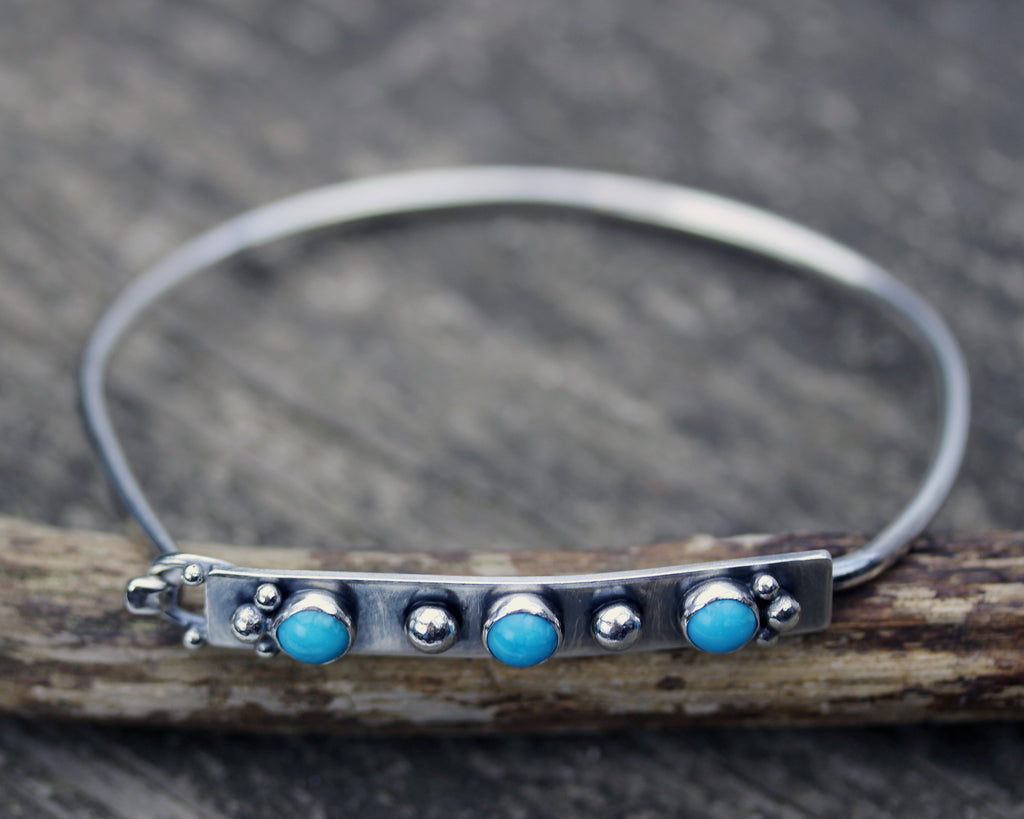 Sleeping Beauty turquoise bracelet / sterling silver bangle bracelet / gift for her / boho bracelet / jewelry sale / rustic bangle bracelet