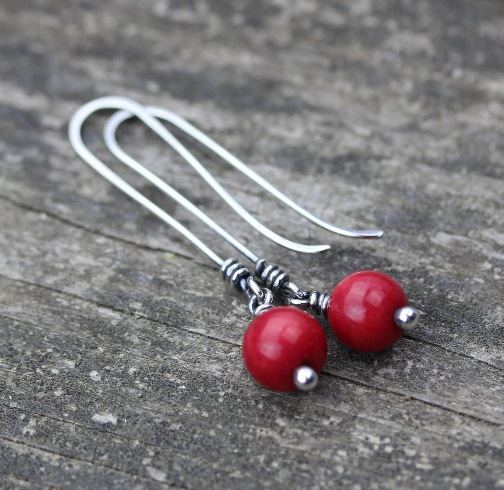 Red jade sterling silver long dangle earrings / gift for her / jewelry sale / red stone earrings / silver earrings / long earrings / jade