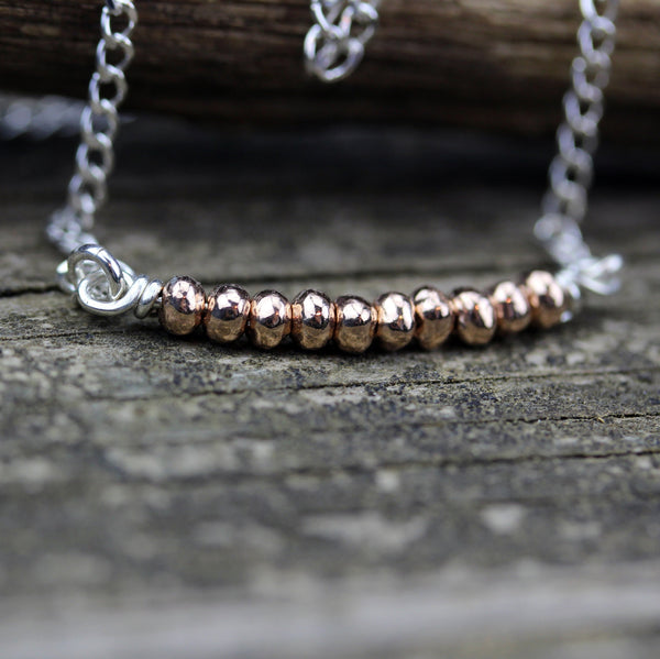 Tiny rose Gold necklace / rose gold sterling silver beaded necklace / dainty necklace / gift for her / jewelry sale / pink gold necklace