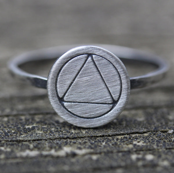Alcoholics Anonymous sterling silver ring / unity service recovery ring / AA ring / AA symbol ring / circle triangle ring / recovery ring