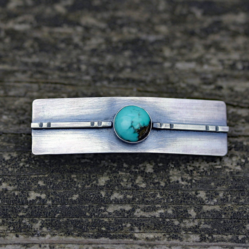 Turquoise barrette / SMALL silver barrette / rustic barrette / gift for her / French barrette / sterling barrette / bangs barrette / sale